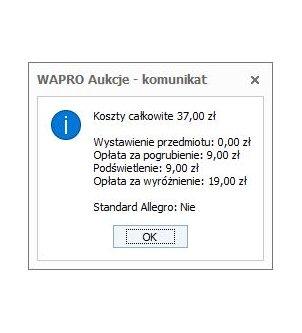 Okno kosztów wystawienia aukcji w programie WAPRO AUKCJE.