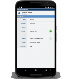 Informacje o osobie kontaktowej w programie WAPRO MOBILE